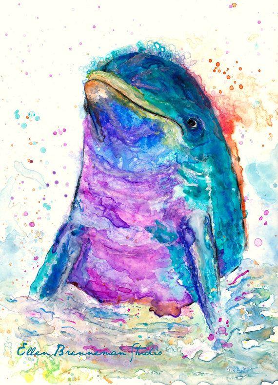 Dolfijn geest dierlijke kunst afdrukken door Ellen Brenneman