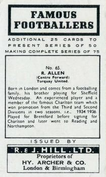 1939 R & J Hill Famous Footballers Series 2 #65 Ralph Allen Back