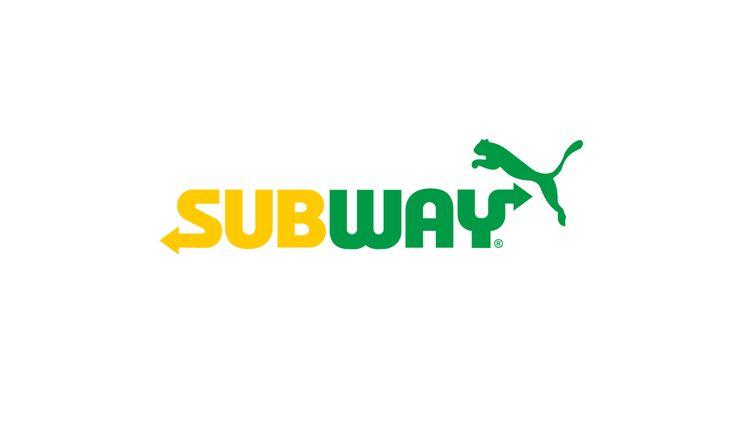 Sportswear x Fast Food logo design mashup: Subway x Puma #logo #mcdonalds #nike #adidas #fila #burgerking #dunkindonuts #kfc #champion #underarmour #subway #puma #jordan #pizzahut #dominos #fila