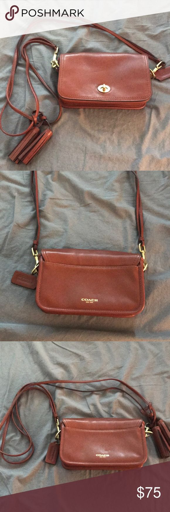 Brown leather Coach purse Never been used! Great small bag. Can be adjusted to go over one shoulder or cross body. Mint condition! Coach Bags Shoulder Bags