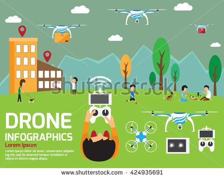 modern air drones Infographic elements with control man. vector illustration.