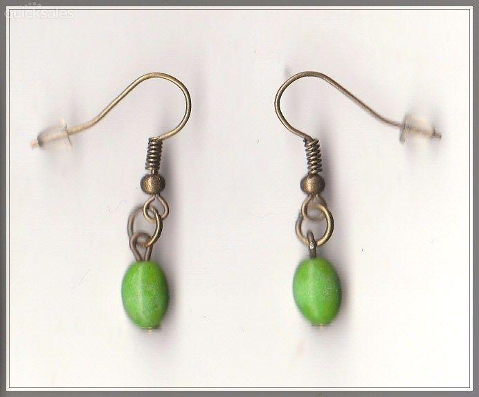 Green Turquoise Bead Bronze Dangle Earrings  by MadAboutIncense - $8.50