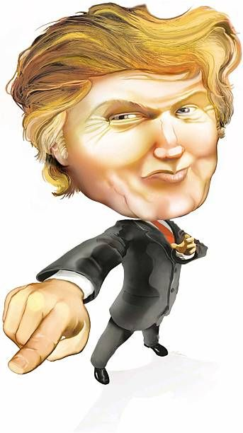 4 col x 1375 in / 196x349 mm / 667x1188 pixels Rick Nease color caricature of Donald Trump