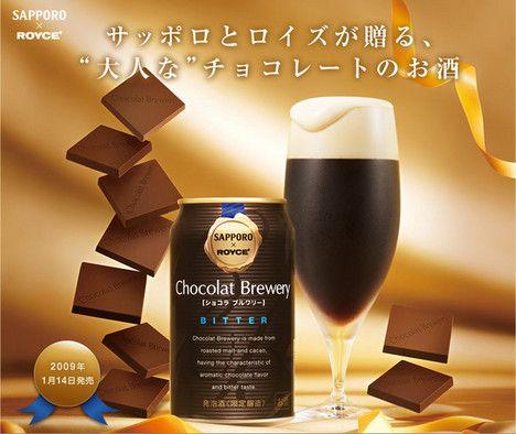 """Nieuw: bier met chocolade. De Japanse brouwer Sapporo meent een gat in de markt te hebben gevonden: bier met chocolade. Hoe het brouwsel smaakt? """"Dit bier bevat geroosterde mout en cacao, waardoor het de aromatische smaak van chocolade heeft""""."""