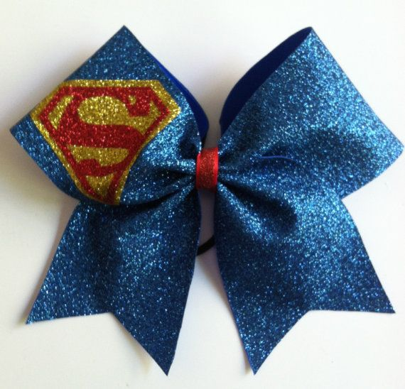 3inch BIG Cheerbow Superhero Superman Glitter Cheerleader Cheer Bow on Etsy, $12.00