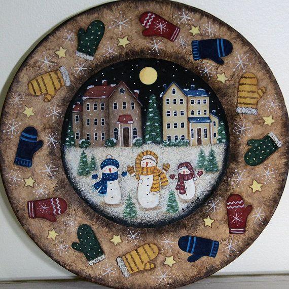 Arte popular pintura sobre placa de madera primitivo país de invierno, muñecos de nieve, guantes, casas Saltbox, copos de nieve, decoración de Navidad hecho a la medida