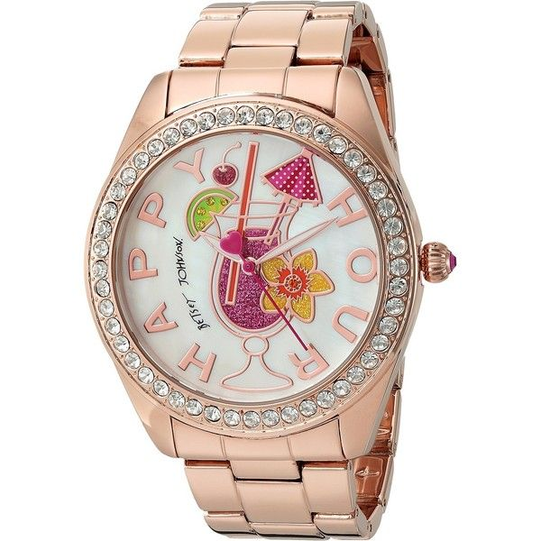 Betsey Johnson BJ00249-30 - Happy Hour (Rose Gold) Watches (€68) ❤ liked on Polyvore featuring jewelry, watches, gold, rose gold jewelry, water resistant watches, rose gold watches, analog wrist watch and rose gold tone jewelry