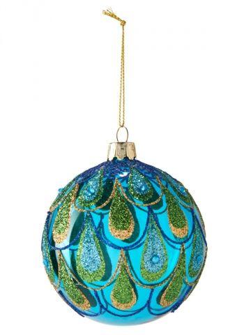 Une boule plume de paon pour un sapin de Noël jungle