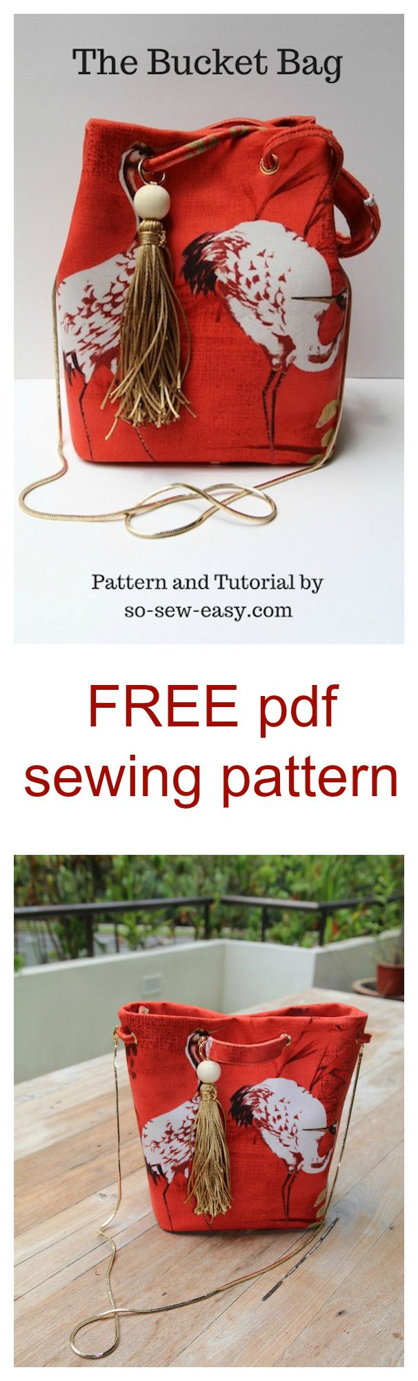 FREE pdf bag sewing pattern. This bucket bag pattern is the ideal project for those of you who would like to experiment with different materials.