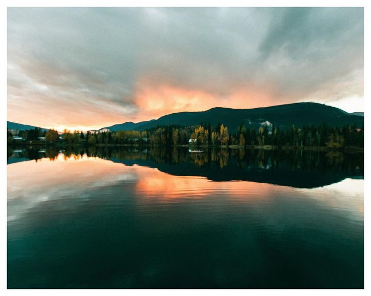 Fire sky above Blue Rivers Lake in British Columbia.  An unexpected stop on our way to Vancouver.  Very quiet town on the side of yellowhead highway.  Autumn 2016