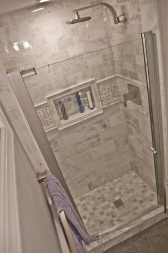 semi framed pivot shower door in chrome - Small Shower Design Ideas