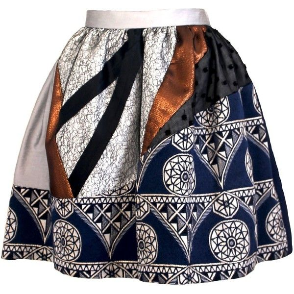 Joana Almagro Murano Ethnic Print Navy Blue Full Skirt (€335) ❤ liked on Polyvore featuring skirts, mini skirts, navy blue, pocket skirt, navy skirt, print skirt, summer skirts and pattern skirt