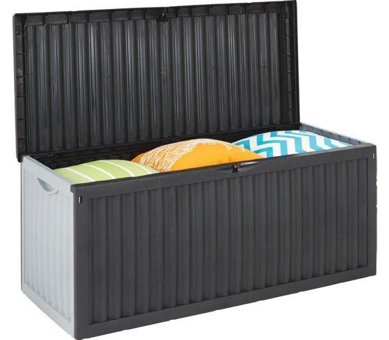 Praktische Kissenbox aus Kunststoff in Grau/Silber mit ca. 350 Litern Fassungsvermögen. Ideal für Gartenstuhlauflagen oder andere Kleinigkeiten, die Sie verstauen möchten.