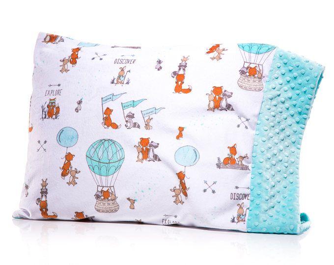 Gender Neutral Pillow Case, Boy Girl Minky Pillow, Mimis, Standard Pillow, Forest Animal, Fox Bunny Raccoon, Teal, Turquoise, Aqua Gray Grey