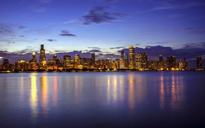 壁紙をダウンロードする ミシガン湖, シカゴ, 夜, 高層ビル群, 町並み, イリノイ, 米国
