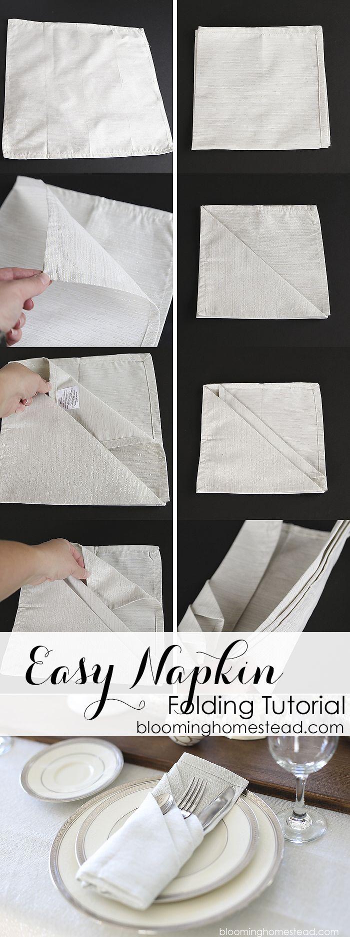 La manera más simple y elegante para doblar servilletas de tela no podría ser más fácil!  Tutorial paso a paso para doblar servilletas fácilmente para cualquier evento.