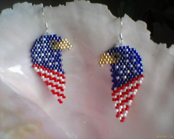 American Flag Bald Eagle earrings Brick stitch by Beadedforu