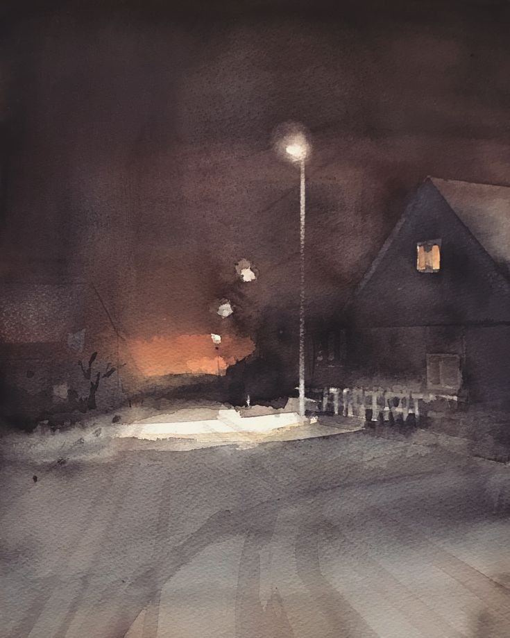 'Winter', watercolor by Magnus Petersson