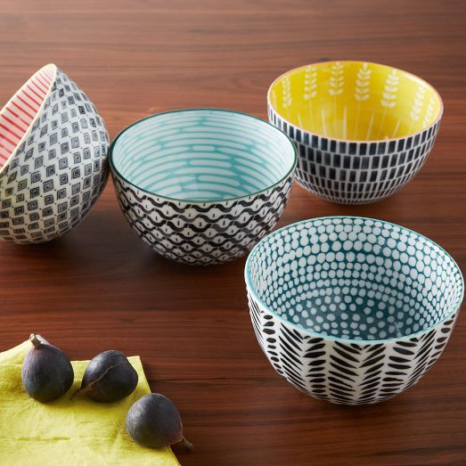 love :: gorgeous colours and patterns on these bowls! Mid-Century Printed Bowls | west elm