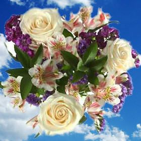 White Wedding Flower Arrangements Alstroemerias Roses | Global Rose  12 centerpieces= $144