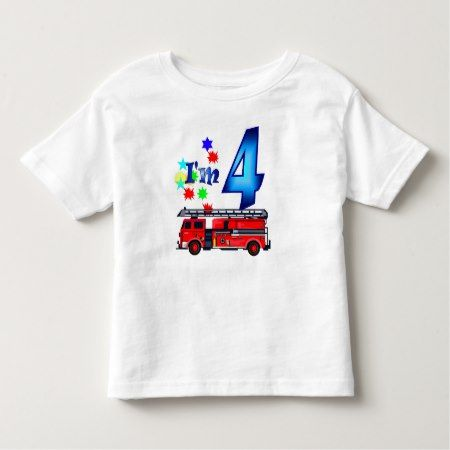 Boy 4th birthday fire engine toddler t-shirt - tap to personalize and get yours