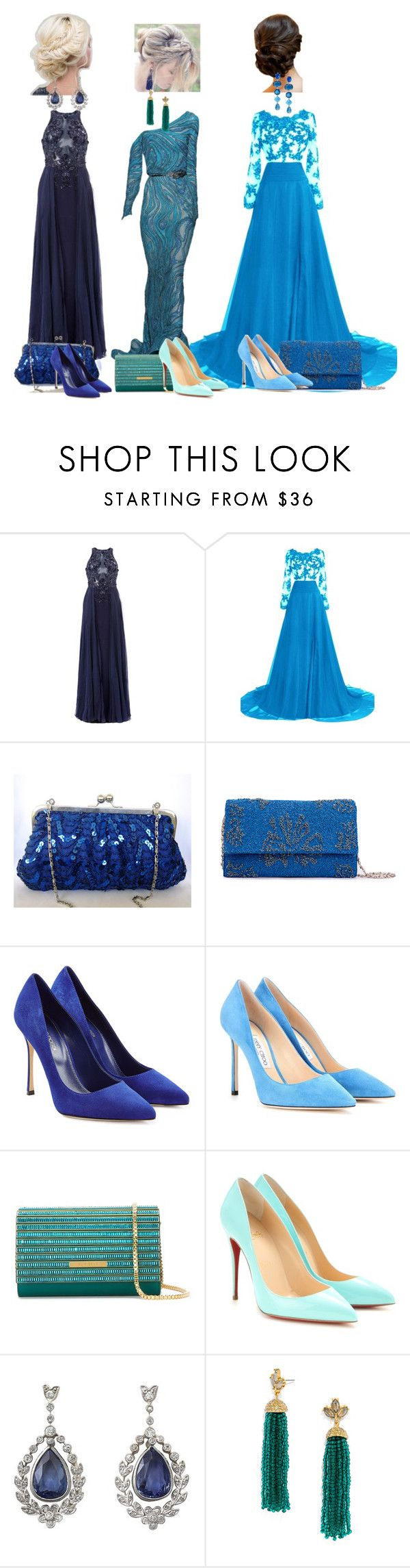 """Choose your favorite"" by valentina-miyake-toscano on Polyvore featuring Zuhair Murad, Sergio Rossi, Jimmy Choo, Elie Saab, Christian Louboutin, BaubleBar and Lauren Ralph Lauren"
