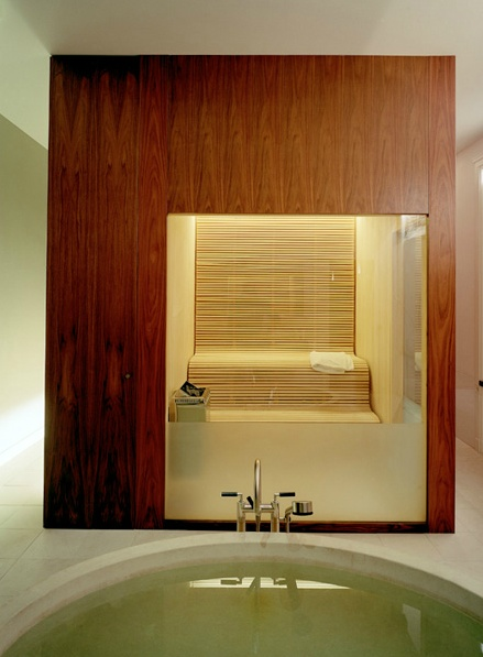 Sweat in a sauna so your body can eliminate wastes through perspiration.