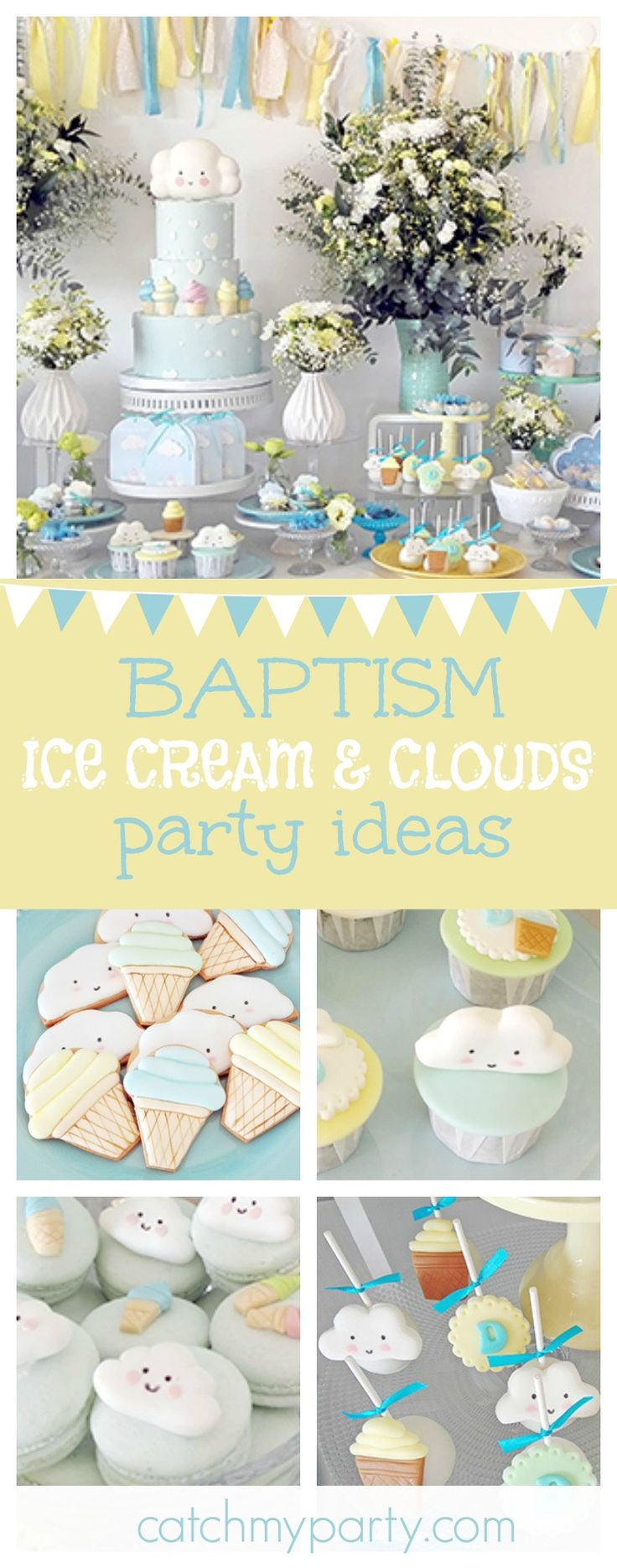 Don't miss this fantastic Clouds & Ice Cream Baptism celebration! The birthday cake is gorgeous!! See more party ideas and share yours at CatchMyParty.com