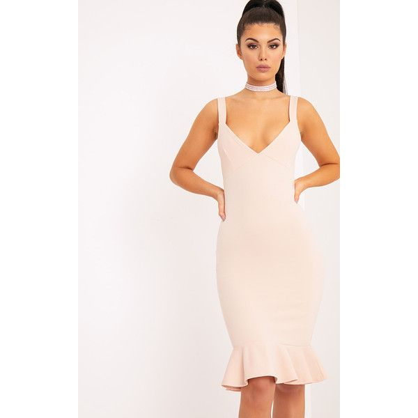 Mikaela Nude Plunge Frill Hem Midi Dress ($7.93) ❤ liked on Polyvore featuring dresses, pink, mid calf dresses, special occasion dresses, midi evening dresses, pink dress and pink cocktail dress