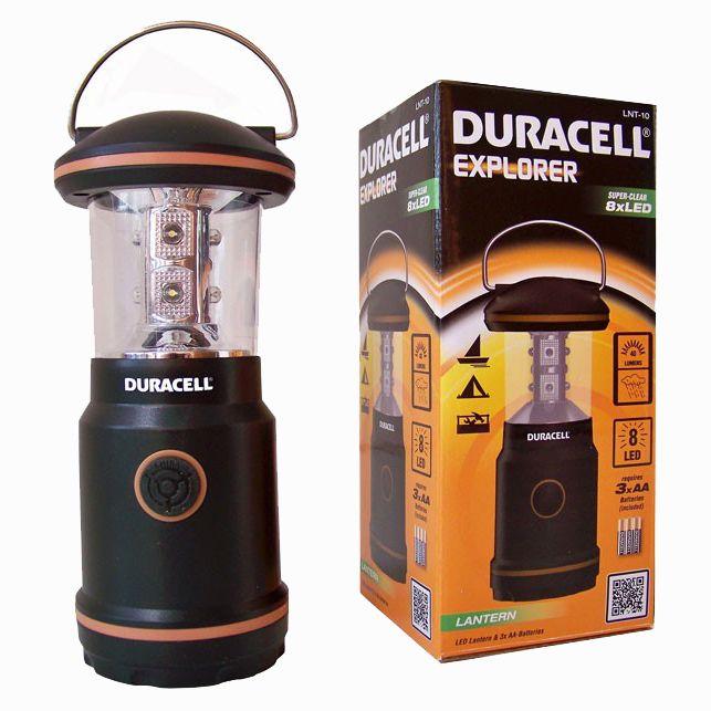 DURACELL CAMPING LANTAARN ( 8 LED'S) Type: LNT-10  Een camping lantaarn van Duracell.  8 super heldere LED's.  Geschikt voor natte omstandigheden.  Lichtopbrengst: 40 lumen.  Hoogte: 15cm.  Diameter: 5,5cm.  Inclusief 3 Duracell AA batterijen.