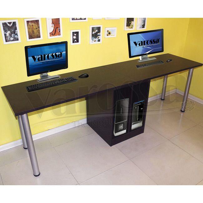 Varossa Double Workstation 2 In 1 Computer Desk Dark Walnut