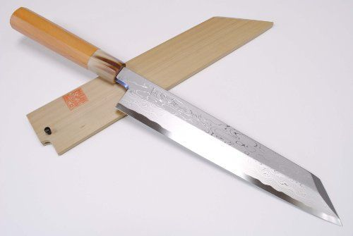 Yoshihiro Blue Steel Damascus Kiritsuke Sushi Sashimi Chef Knife Multipurpose 10 5 270mm Made