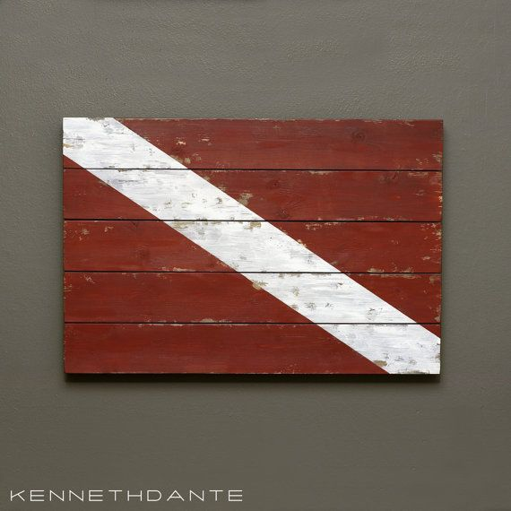 Scuba Sign Dive Flag Wall Hanging Painted Wood by KennethDante, $89.00
