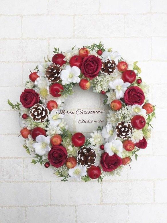 真っ赤なバラとリンゴのリース フラワー・リース 工房 月 ハンドメイド通販・販売のCreema