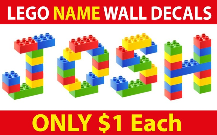 smartwalling, wall decals - personalised Lego names Wall/door Decal, $1.00 (http://www.wholesaleprinters.com.au/personalised-lego-names-wall-door-decal)
