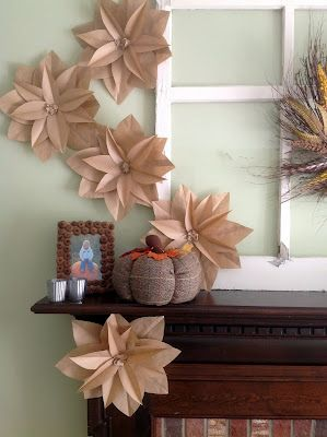 Home Made Modern: Fall Mantel with Brown Paper Bag Flowers