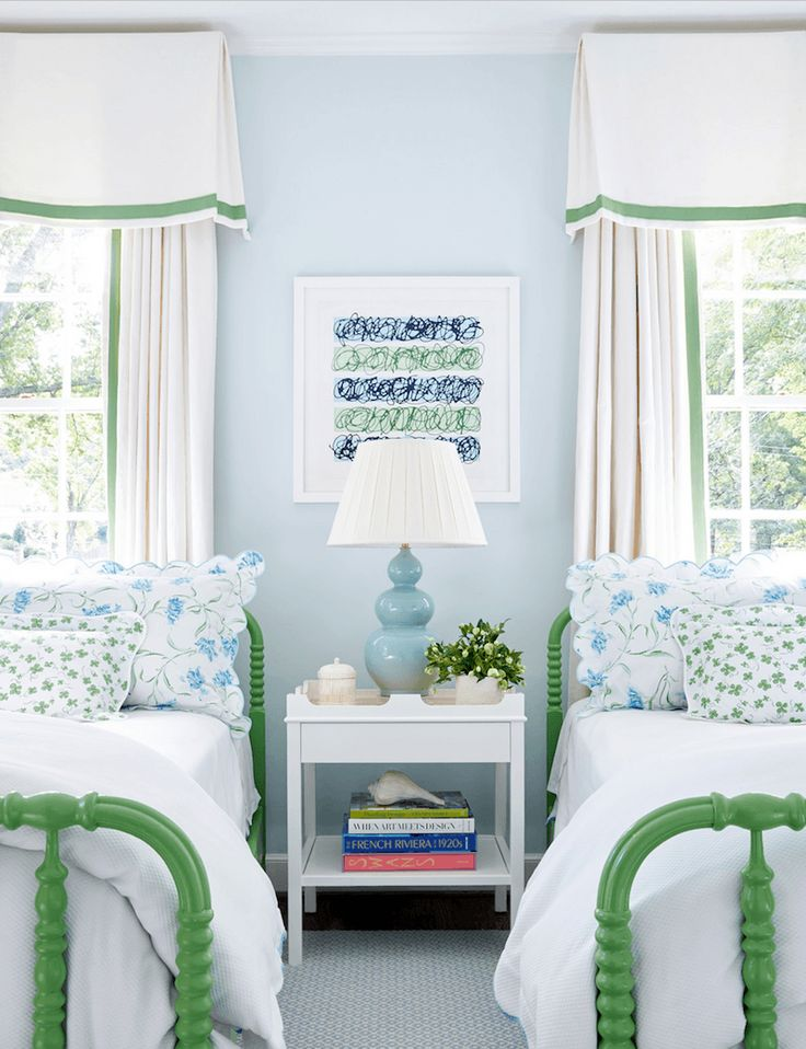 Fabulous interior design and girl's bedroom by Sarah Bartholomew. Lovely trimmed drapes and valances are terrific.