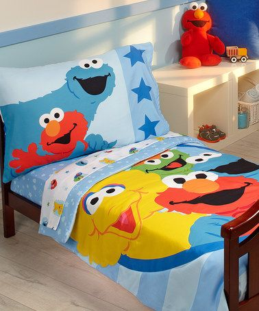 Sesame Street Furry Friends Four-Piece Bedding Set #zulily #zulilyfinds