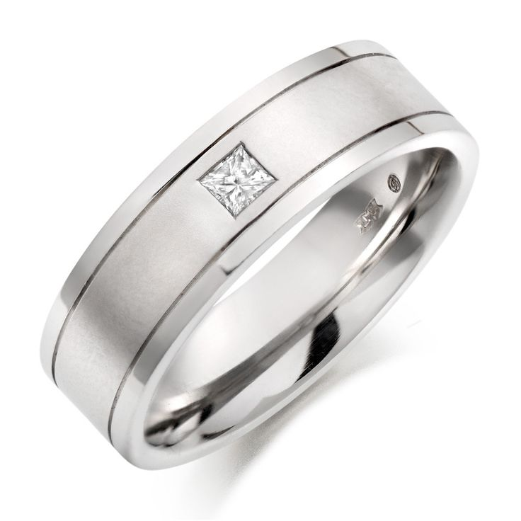 Simple Mens Platinum Diamond Wedding Rings