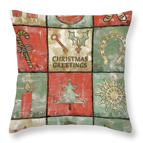 Christmas Throw Pillow featuring the painting Vintage Christmas Greetings by Grigorios Moraitis