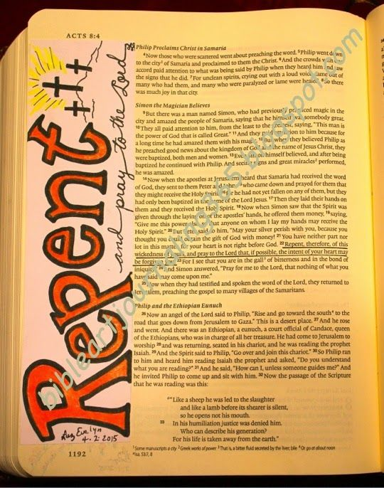Easy Bible Art Journaling Journey: Acts 8:22 (April 2)