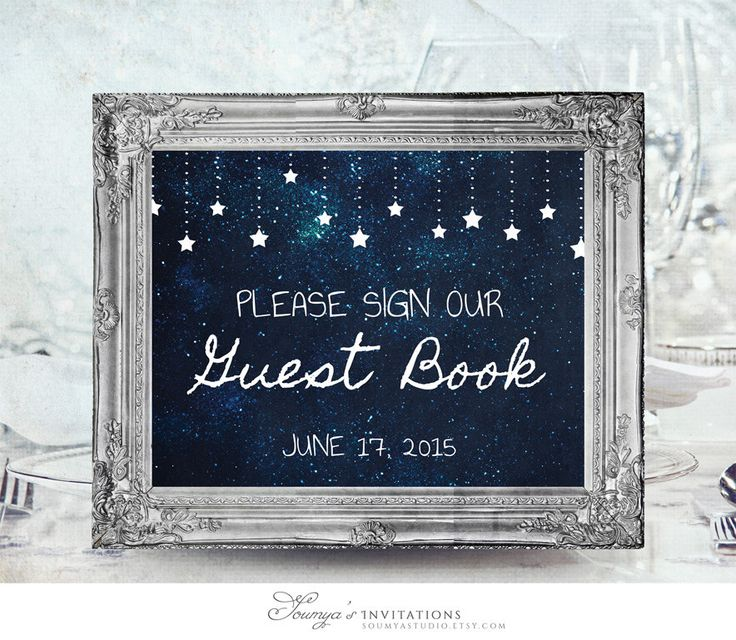Wedding Guest Book Sign, PRINTABLE Wedding Sign, Starry Night Guest Book Sign, Blue Guest Book Sign, Under the Stars Guest Book Sign by soumyasinvitations on Etsy https://www.etsy.com/listing/227185125/wedding-guest-book-sign-printable