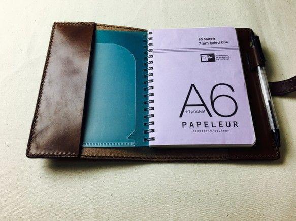 【手縫】チョコ色栃木レザーA6ノートブックカバー