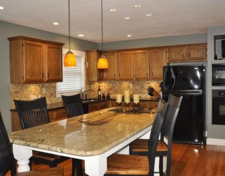 Best Grey Walls Oak Cabinets And Floor Dark Wood Accents 400 x 300
