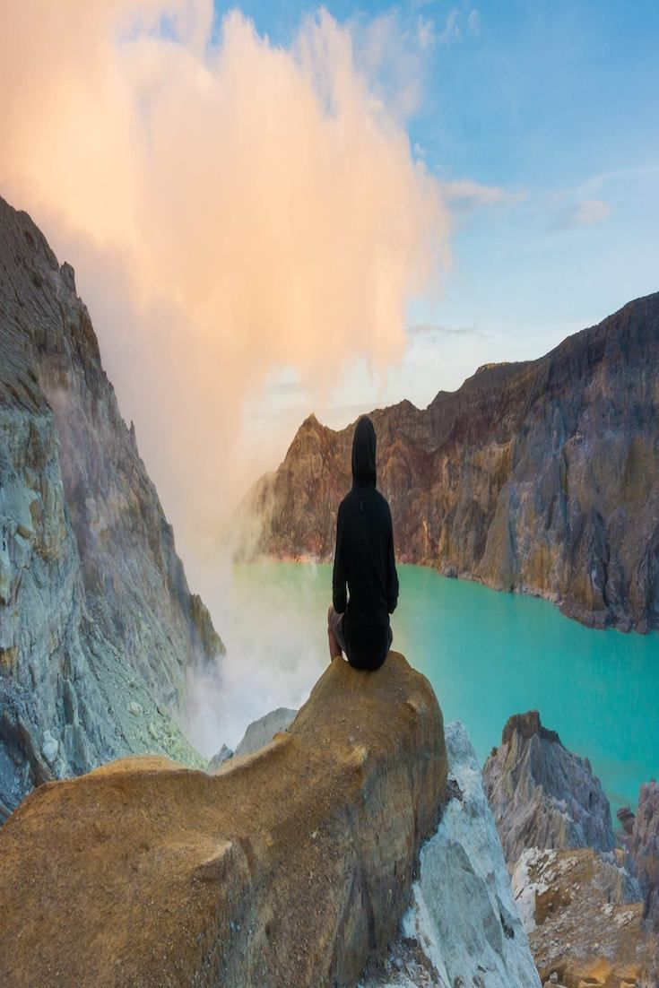 """Ijen Volcano - Java, Indonesia joe_s_flow """"When I climbed up the Ijen Volcano in Java by night and was just enjoying this view right after sunrise."""""""