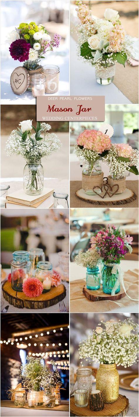 Rustic mason jar wedding centerpieces / http://www.deerpearlflowers.com/wedding-centerpiece-ideas/