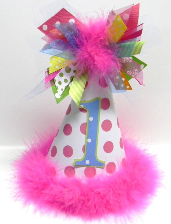 Personalized Boutique Pink And Multi Colored First Birthday Party Hat