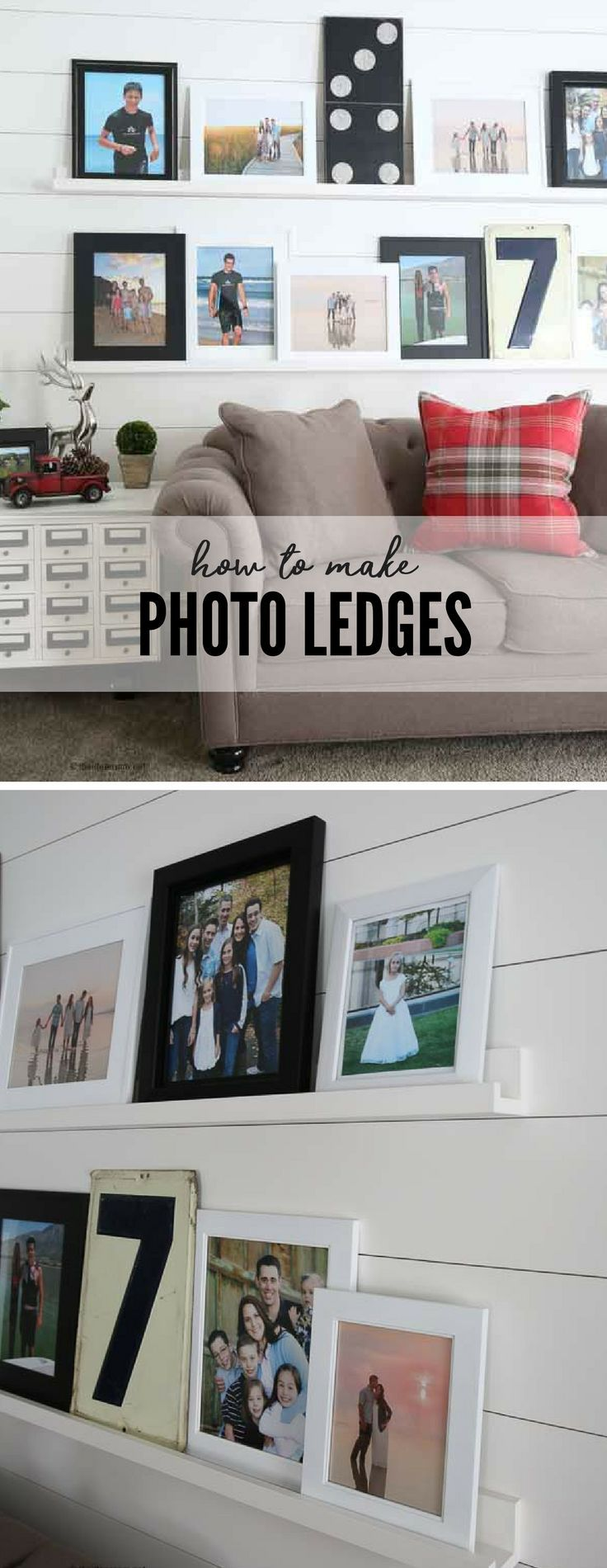 Home Decor | Photo Walls | Have a long or awkward wall to decorate? Learn how to make DIY Photo Ledges to create a beautiful photo wall. This simple step-by-step tutorial teaches you how to make your own. An easy project that is perfect for beginners.