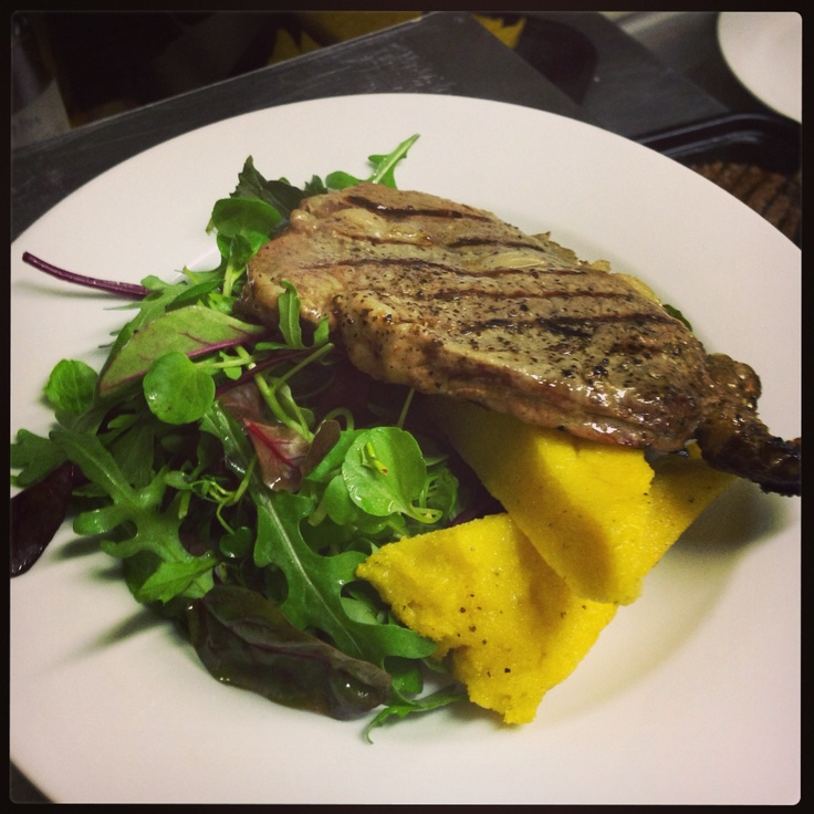 Hampson's 8oz sirloin steak with polenta and mixed leaves