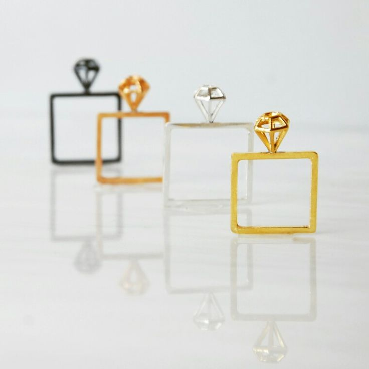 Square rings with diamonds on top #handmade #square #diamond #ring #silver #goldplated #gold #geometry #jewels #karina